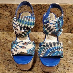 Wild pair, multi colored high heel.
